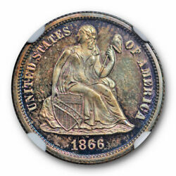 1866 10c Seated Liberty Dime Ngc Pr 66 Proof High End Toned Beauty Key