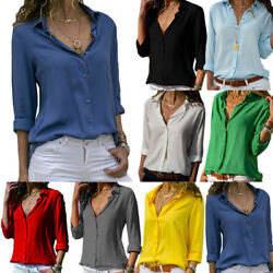 Women's Casual V Neck Long Sleeve Blouse Loose Tops Office Ladies Work Shirt