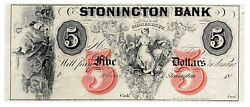 1860s Stonington Bank Connecticut 5 Obsolete Currency Remainder Note Unc
