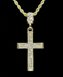 Iced Cross Pendant Hip Hop Fashion 14k Gold Plated W/ 24 Rope Chain