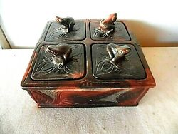 Indonesian Pottery 4 Compartment Frog Desk Dresser Organizer Made In Indonesia