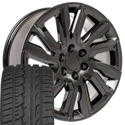 Oew 22x9 Wheels And Tires Fit Chevy Gm High Country Black W/black Imove