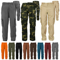Men's Cotton Casual Tactical Utility Multi Pocket Cargo Military Work Pants $26.95