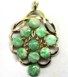 Chinese Vintage 14k Solid Yellow Gold And Natural Jadeite/jade Pendant/brooch