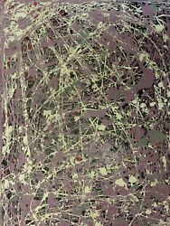 STYLE OF JACKSON POLLOCK ABSTRACT MODERNIST ACTION DRIP PAINTING