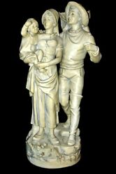 Antique Royal Dux Bohemia Fisherman Wife And Child Statue W Pink Triangle 10581