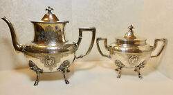 Cute Rogers Smith Silver Plated Coffee Pot And Sugar Bowl New Haven 1867