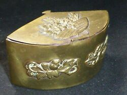 Rare And Superb Antique Japanese Meiji Brass Fan Shaped Inkwell