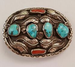 Navajo Vintage Unsigned Sterling Silver Belt Buckle With Turquoise And Red Coral