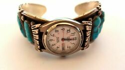 James Mason Navajo Signed Sterling Silver Watch Bracelet With Turquoise
