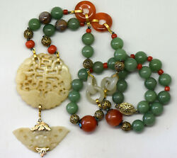 Antique Chinese 14k Solid Gold, Silver, Coral, Carnelian And Jade Necklace