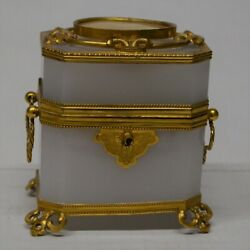 White Opaline Box With Perfume Bottles. 19th Century France
