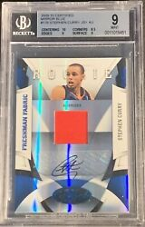 2009-10 Stephen Curry Certified Mirror Blue Auto Patch Rookie /50  BGS 9/9