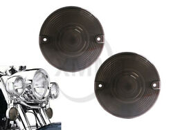 1pair Motorcycle Smoked Lens Turn Signal Light Flat Lens Covers For Harley Dyna