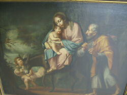 17th Century Italian Old Master.The Rest on the Flight to Egypt,Antique Titian
