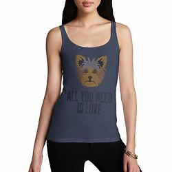 Women's All You Need Is Love And A Terrier Rhinestone Diamante Tank Top