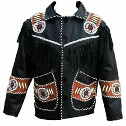 Men's Handmade Western Leather American Wear Cowboy Fringes Style Beads And Bones