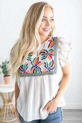 Hazel Embroidered Tunic Embroidered shirts for Women Cute Womens Tops