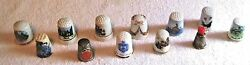 Lot Of 12 Assorted Collectible Thimbles Of Porcelain And Metal, A Great Deal