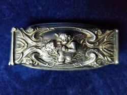 Antique Unger Bros Sterling Silver Angel Repousse Toothbrush Holder Victorian