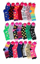 12 Pair Women's Crazy Silly Fun Assorted Prints Design Crew Socks Size 9-11 NEW