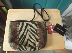 Nwt Gevive By Boyt Animal Print Tapestry Canvas Shoulder Bag Cross Body Purse