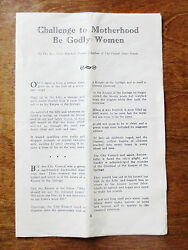 1950s Social Cause Issue Anti Alcohol Signal Press Flyer Challenge Motherhood