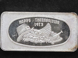 1973 Happy Thanksgiving Silver Art Bar Glm-8 Great Lakes Mint P1090