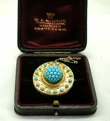 Circa 1860's Antique Victorian 15 Carat Gold And Turquoise Brooch In Original Box