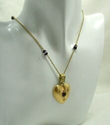 Fabulous Antique 18 Carat Gold Amethyst And Diamond Heart Pendant And Chain