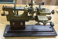 Antique Bench Model Jeweler's / Watchmaker's Hand Operated Lathe