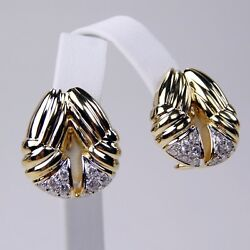 14 Kt Yellow Gold Pair Of Diamond Ribbed Button Style Omega Back Earrings A3120