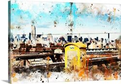 Nyc Watercolor Collection - Letter Box Canvas Art Print