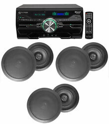 4000w Home Theater Dvd Receiver W/bluetooth/usb+5 Black 8 Ceiling Speakers