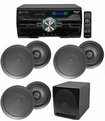 4000w Home Theater Dvd Receiver W/bluetooth/usb+5 Black 8 Ceiling Speakers+sub