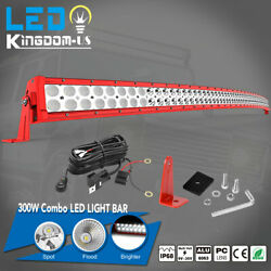 52inch Led Light Bar Curved Red Combo With Wiring Offroad Boat Suv Truck Lamp