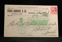 Indiana Attica 1896 Fisher, Arbogast Horse Buggy Allover Advertising Cover