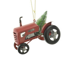 Tractor With Christmas Tree Ornament, Red, 4-1/2-inch