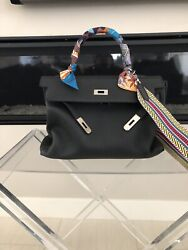 HERMES KELLY 35 BLACK WITH SILVER PALLADIUM IN TOGO