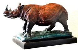 Large Rhinoceros In Bronze On Marble Base With Artist's Signature Bronze Figure