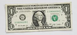 1 - One Dollar Bill 2009 Special Fancy Serial Number 3309 0039