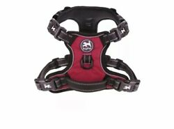 Harness with 4 Snap Buckles Front & Back 2 Leash Hooks RED XS