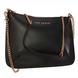 Ted Baker Black Leather Cross Bag Detachable Strap Clutch Bag #x27;Bethany#x27; GBP 74.99