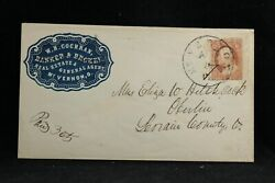 Ohio Mt. Vernon 1850s Cochran Banker And Broker Blue Cameo Advertising Cover
