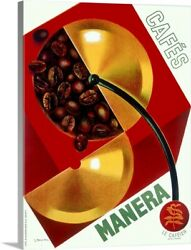 Cafe Manera Coffee Bean Vintage Poster Canvas Wall Art Print Coffee And Tea