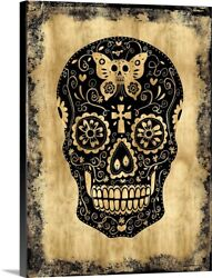 Day Of The Dead In Black And Gold Canvas Wall Art Print Home Decor