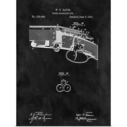 Three Barreled Gun 1883 Black Poster Art Print Home Decor