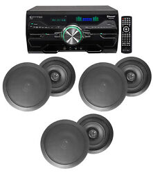 4000w Home Theater Dvd Receiver W/bluetooth/usb+5 Black 6.5 Ceiling Speakers