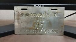 1911 Morgantown  West Virginia CITY  License Plate Tag