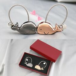 Couple Cute Whale Model Key Ring Decor Metal Keychain Christmas Gift for Lover $9.88